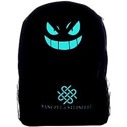 Mochila luminosa negra Pokemon Go. Perfecta como mochila para ordenador portátil. Mochila ideal para deportes y para la escuela. Práctica mochila de ocio para viajes o senderismo.