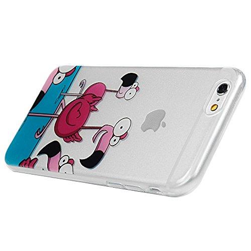 iPhone 6/6s Hülle Badalink Gemalt TPU Case Cover IMD Ultraslim Katze Handyhülle Schutzhülle Silikon Bumper Schutz Tasche Schale Transparent Antikratz Backcover Flamingos