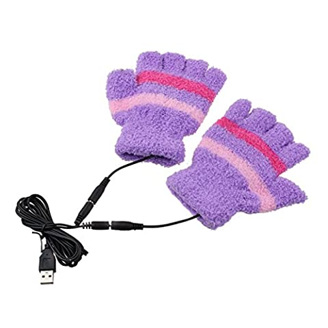 Fletion Laptop Gloves Woolen Fingerless Gloves USB 2.0 Heated Half Winter Warm Hand Warmer Gloves Mitten Computer Electric Heat Gloves