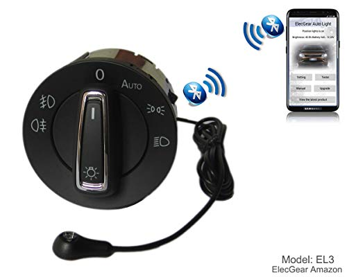 EL3 Auto Lichtsensor Bluetooth App Lichtschalter, KFZ Scheinwerferschalter Hauptlichtschalter Nebelscheinwerfer, Coming Leaving Home Modul - Golf 7, Polo 6C, Seat Leon, Octavia 3, Superb B8