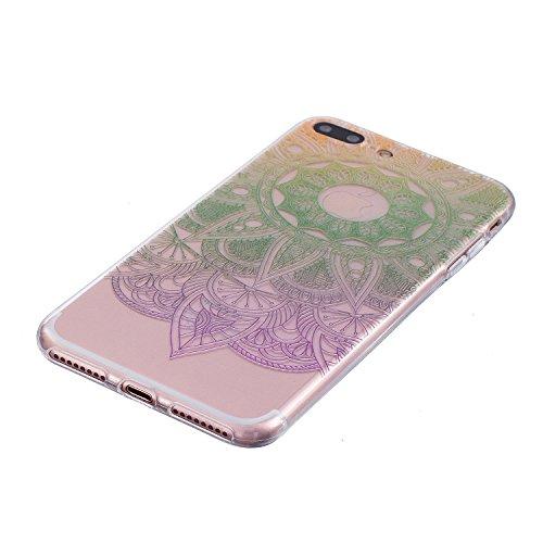 Coque iPhone 7 , iPhone 7 Etui TPU , CaseLover Grand Lotus Fleur Violet Motif Mode Etui Coque TPU Slim pour Apple iPhone 7 (4.7 pouces) Mode Flexible Souple Soft Case Couverture Housse Protection Anti Fleur verte