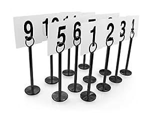 Star Porte-carte et de numéro de Table de 12 pièces de 8 cm et porte Noir-cartes avec numéros de 1 à 12, 24 pièces Noir/blanc