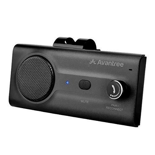 Avantree CK11 Kfz Bluetooth Freisprecheinrichtung Freisprechanlage Car-Kit für Sonnenblende, Lauter Lautsprecher, Siri Google Assistant Unterstützung, Lautstärkeregler, Bewegung Auto AN - Schwarz