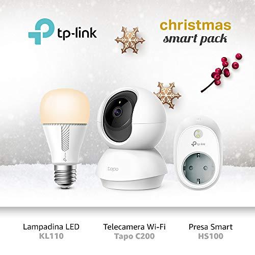 TP-Link Telecamere Wi-Fi Tapo C200 + KL110 Lampadina Wi-Fi E27 + Presa Wi-Fi HS100, Smart Plug Compatibile con Alexa e Google Home