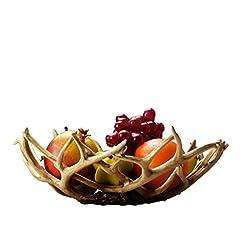 Idea Regalo - MFFACAI Forma del Ramo Corna Vassoio Ciotola da Frutta Resina Decorazioni per la casa Arredi Artigianali Regalo di Natale 34 * 13 * 13 cm