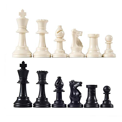 CoURTerzsl 32PCS/set nero & bianco plastica medievale pezzi degli scacchi gioco Chessmen 65/75/95MM, one color, 75 mm