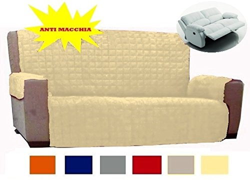 Copridivano copertura divano tinta unita anti macchia 2 posti no elastico novita: panna