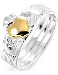 MunkiMix 3 Pieza 925 Plata Anillo Ring Banda Venda Cz Cubic Zirconia Circonita Plata Oro Dorado Amistad Amor Claddagh irlandés Corazón Heart Alianzas Boda Pareja Conjunto Set Mujer