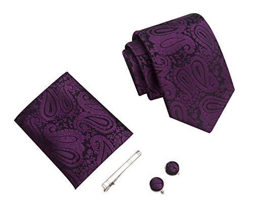 Herren Paisley Krawatten set mit ManschettenKnöpfe, Einstecktuch und Krawatte Bar Geschenk Set (Lila)