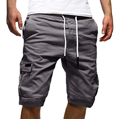Tomwell Herren Sommer Casual Cargo Hose Chino Cargo Shorts Kurze Hose Bermuda Jogginghose Grau XXX-Large - Running Shirt Gry