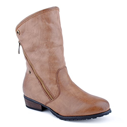 Damen Stiefeletten Schlupf Stiefel Warm Gefüttert Reißverschluss Blockabsatz Boots Schuhe Berlin-Hellbraun/Gefüttert