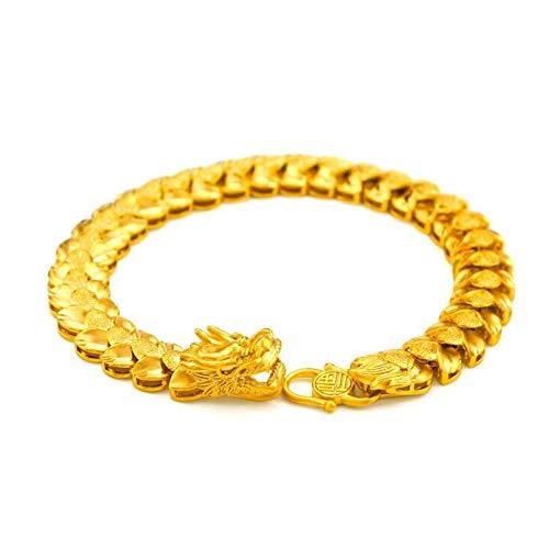 DXJTSZB Herren 18 Karat Gelbgold Drachenkopf Armband Modeschmuck Hohe Dichte Vergoldet Kettenarmband zum Geburtstag Weihnachten 333 Zopf