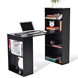 ADD ONE +1 Student PC Workstation Laptop Table and Storage Unit Combo Ideal Desktop for any Size Computers and Laptops, Black