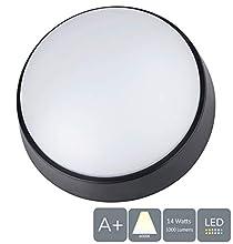 Aurolite Paratia 14 W LED, 4000 K, 1000 lumen, IP54, ideale per esterni, portico, giardino, sentiero, capanni, garage e officina, patio (circolare), bianco