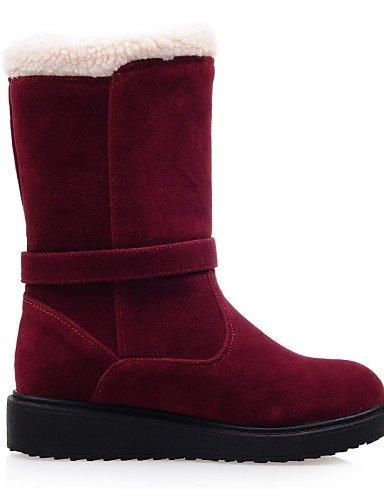 ShangYi Mode Frauen Schuhe Schuhe Damen Fleece Keilabsatz Wedges/Mode Schuhe/Stiefel Runder/Casual Kleid Schwarz/Rot Schwarz/Beige Rot