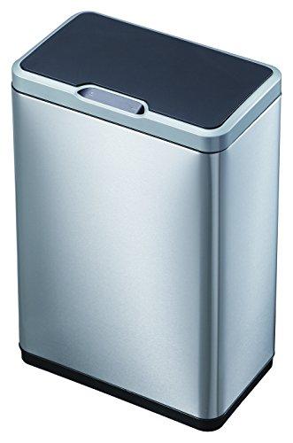 EKO Mirage Sensor Mülleimer 2x20L Mülltrenner (27 x 46 x 65.5 cm, Bewegungssensor, Dämpfer-System, Fingerabdruck frei, Abfallbeutelfixierung), silber (Automatischer Recycle Mülleimer)