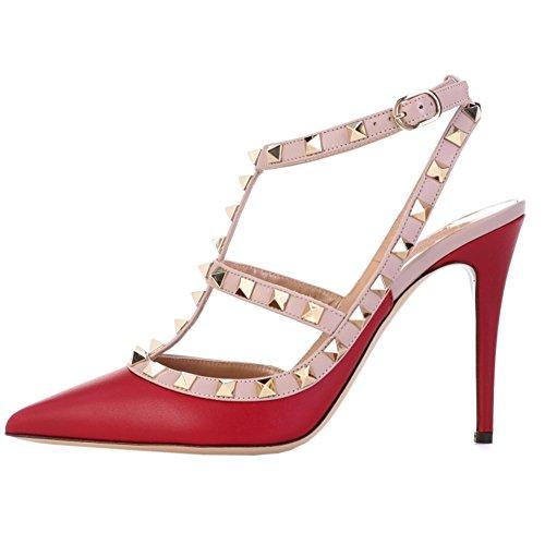 ls Spitz Lackleder Schnalle Kleid-Usual Spikes PumpsRot-Matt35 EU (Rot Spike Heel Schuhe)