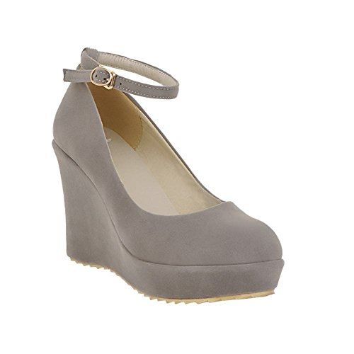 Mee Shoes Damen modern elegant bequem Keilabsatz Geschlossen runder toe ankle strap Schnalle Nubukleder Pumps Grau