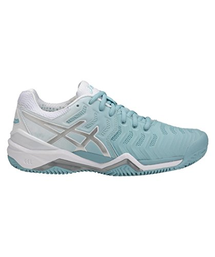 ASICS Damen Tennisschuhe Outdoor Gel Resolution 7 Clay hellblau/Weiss (717) 39,5EU