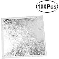 ULTNICE Silber Leaf Sheets Nachahmung Silberfolie für Handwerk Vergoldung Crafting 100 Blatt
