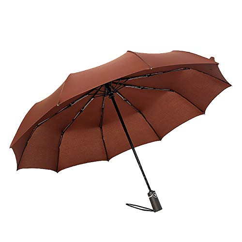 ChanYYw Portable Windproof Rainproof Parasol Umbrella Solid Color Automatic Open Close Large Sun Rain Folding Umbrella for Man Women Coffee Folding Frame Screen