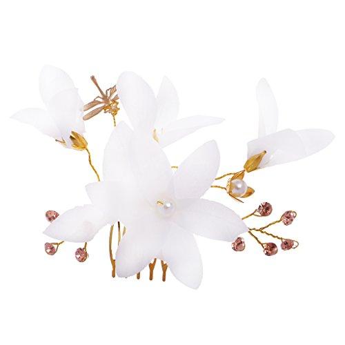 Juguetes de Joyería Boda Flor Novia Horquillas del Peine Pelo Cabello - Blanco