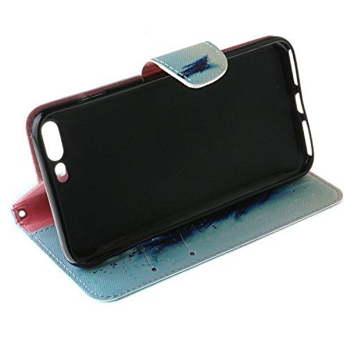 Custodia iPhone 7,Cover iPhone 7 / 7G In Pelle - Cozy Hut Custodia Apple iPhone 7 (4.7 Zoll) in Pelle, Portafoglio / wallet / libro Flip elegante e di alta qualità con porta carte di credito e bancono piuma Blu