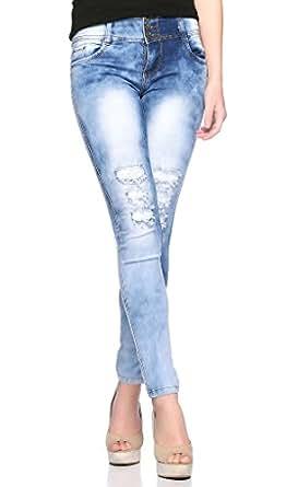 Fasnoya Women's High Waist Distressed Torn Jeans (j284)