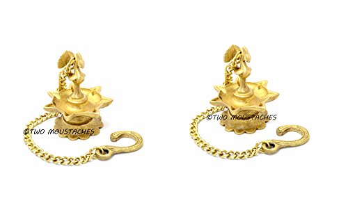 Two Moustaches Traditional Indian Deepak Pair Brass Hanging Diya Set | Home Decor |  available at amazon for Rs.795