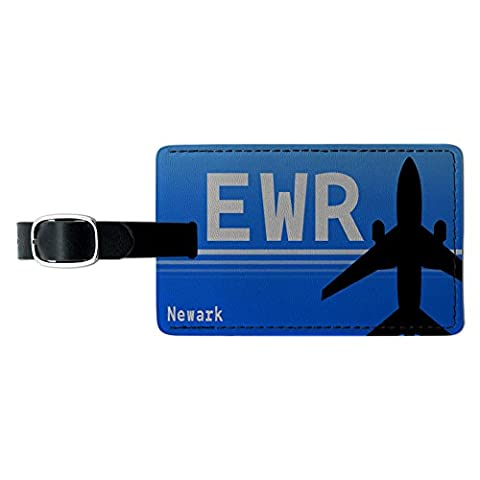 Newark NJ (EWR) Airport Code Leather Luggage ID Tag Suitcase Carry-On