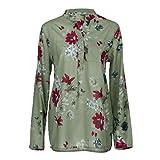 JUTOO Frauen Drucken Langarm Pullover Tops Shirt(Grün,EU:38/CN:M)