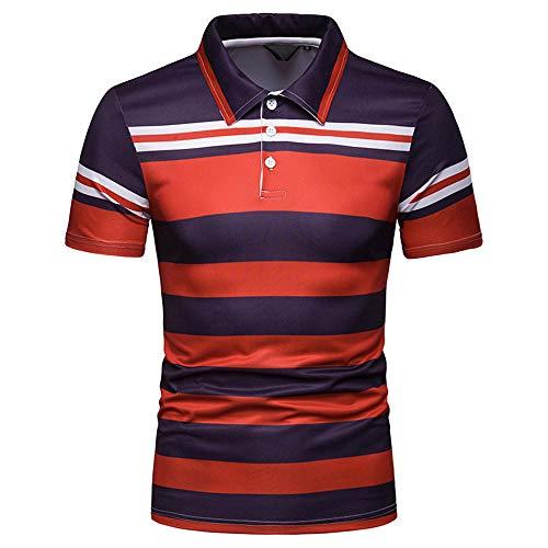 Anker Polo (Slim Fit T-Shirt Sommer Herren Kontrast Streifen Revers Kurzarm Polo Shirt@Rot_L)