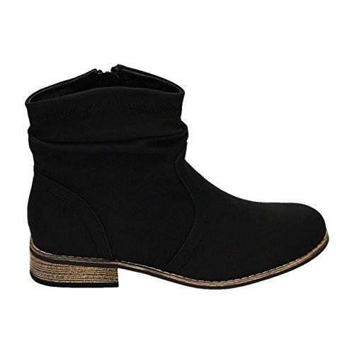 Damen Stiefeletten Cowboy Western Stiefel Boots Flache Schuhe HP86 (38, Schwarz)