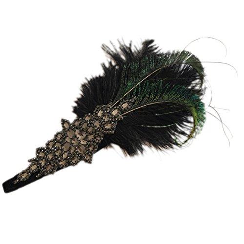 Sharplace Retro 20er Jahre Haarband Flappers Stirnband 1920s Abendkleid Haarschmuck Strass Perlen Kopfschmuck mit Federn - Schwarz ()