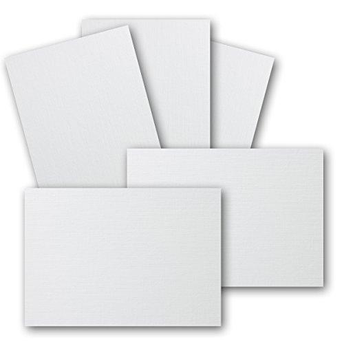 100 Stück DIN A6 Karton mit Leinenstruktur - Farbe: Weiss - 105 x 148 mm - 250 g/m²- Einzelkarte ohne Falz - Ideal zum Basteln, Scrapbooking, Grußkarte - Gustav NEUSER