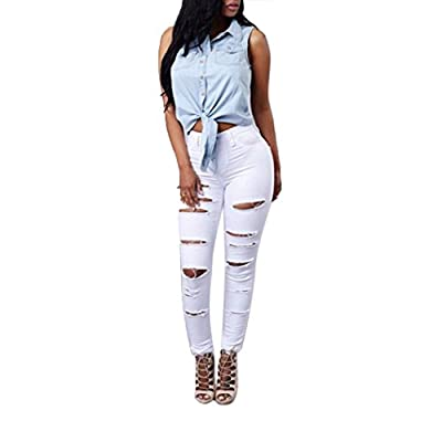 Internet Women High Waisted Skinny Ripped Denim Pants Pencil Jeans Trousers