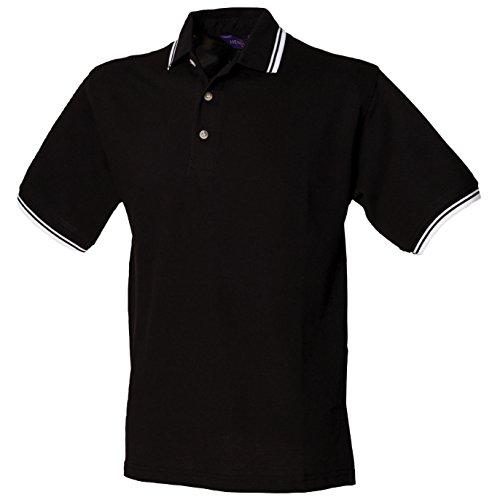 Henbury Herren Poloshirt Schwarz / Weiß