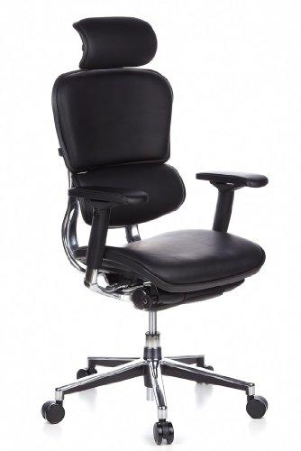 hjh OFFICE 652200 Luxus Chefsessel ERGOHUMAN Echt-Leder Schwarz Bürostuhl ergonomisch, Armlehnen und Kopfstütze verstellbar