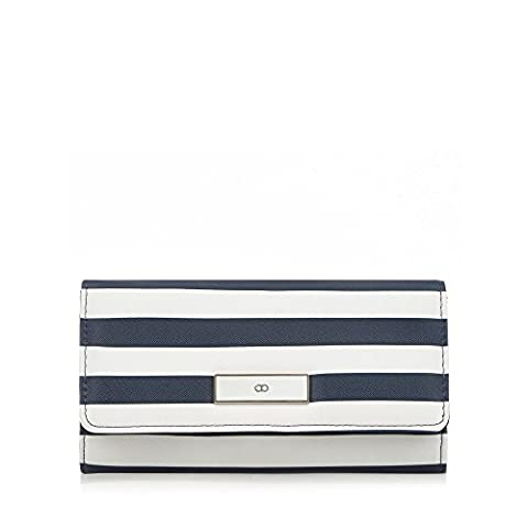 The Collection Womens Navy And White Striped Flap Over Purse
