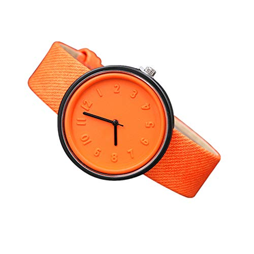 Valentinstag Uhren DELLIN Unisex Simple Fashion Number Uhren Quarz Leinwand Gürtel Armbanduhr (Orange)