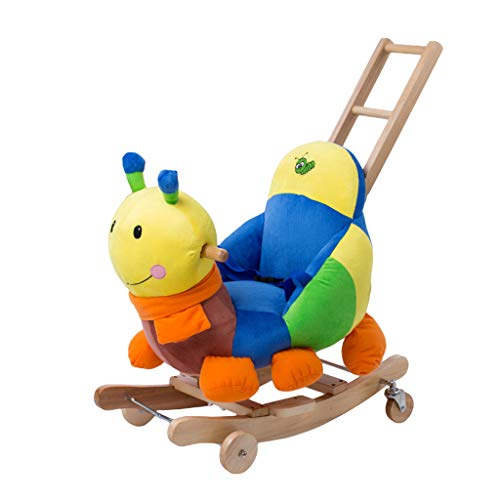 Schaukelpferd LINGZHIGAN Kinderspielzeug Baby Schaukel Wiegen Massivholz Mit Musik Dual-use Baby Plüsch Trojaner Mädchen Geburtstagsgeschenk