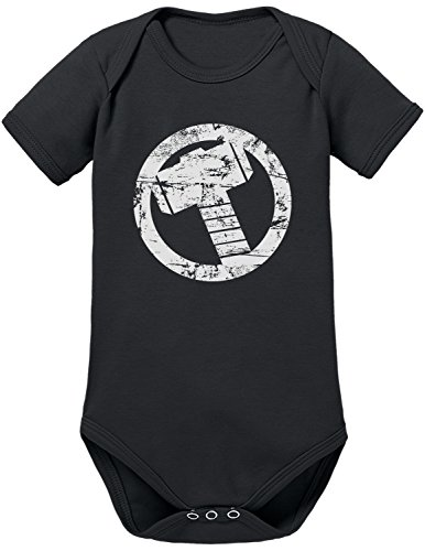 TLM Thor Hammer Babybody 62 Schwarz (Spiderman 3 Venom Kostüm)
