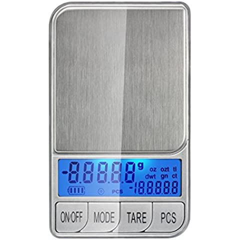 Smart Weigh DBL1KG Dual Display Digital Pocket Scale with Back-lit LCD Screen and PCS Function, Silver