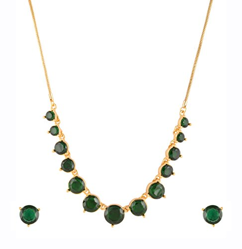 Estelle Gold plated Green Emerald Crystal Stone & Cz Simple Fancy Wedding Designer Necklace Jewellery Set For Women & Girls|Traditional Stylish Modern Trendy Unique-Party wear Latest Design Statement Neckless in 1 Gram Gold Jewelry with Long Chain  available at amazon for Rs.1449