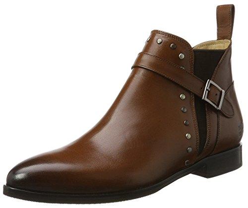 Melvin & Hamilton Damen Jessy 28 Chelsea Boots, Braun (Salerno Woody + Mixed Rivets, Ela. BRW+Strap Woody, Hrs), 39 EU (Damen Rivet)