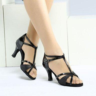 Silence @ Chaussures de danse pour femme en satin/paillettes satiné/paillettes latine Sandales/talons/Sneakers cubain Heelpractice/débutant/ Silver