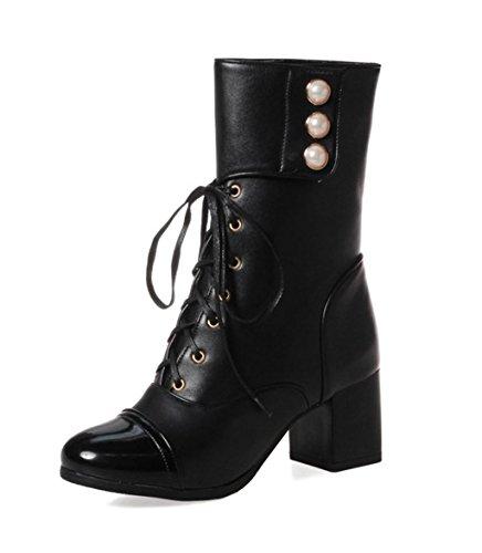 Kitzen Damen Damen High Heel Booties Heeled Block Plattform Winter Knöchel Kurz Stiefel Größe, 44, Black (Bootie Plattform-knöchel)