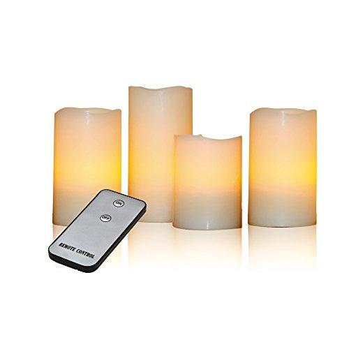 X4-LIFE 701391 LED Echtwachskerzen inklusive Fernbedienung, 4-er Set, creme, 15 x 7.5 x 7.5 cm