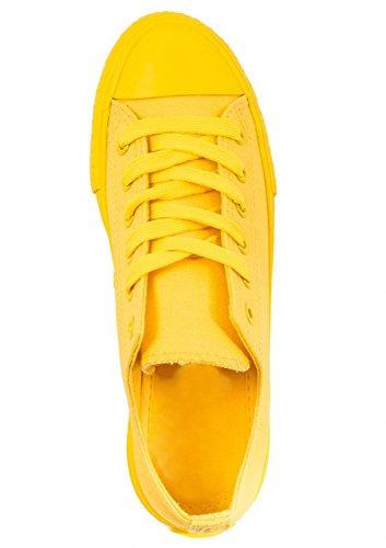 Elara Unisex Sneaker | Bequeme Sportschuhe für Damen und Herren | Low top Turnschuh Textil Schuhe 36-46 All Yellow