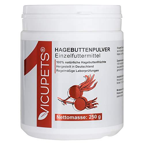Vicupets® ONE Hagebuttenpulver für Hunde, Pferde & Katzen I Hoher Vitamin C Gehalt I Zur Stärkung der Abwehrkräfte I 100% Hagebutten I 250g